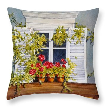 Throw Pillow featuring the painting Parisian Window by Mary Ellen Mueller Legault
