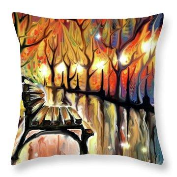 Throw Pillow featuring the digital art Park Bench by Darren Cannell