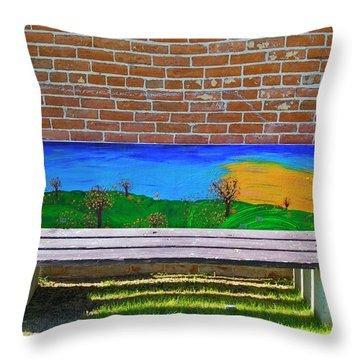 Park Bench Emmetti Idaho Throw Pillow