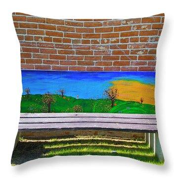 Park Bench Emmetti Idaho Throw Pillow