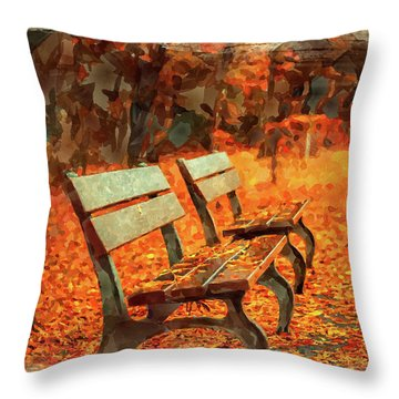 Park Bench In Fall Throw Pillow