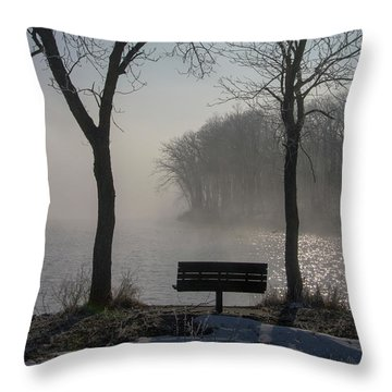 Park Bench In Morning Fog Throw Pillow