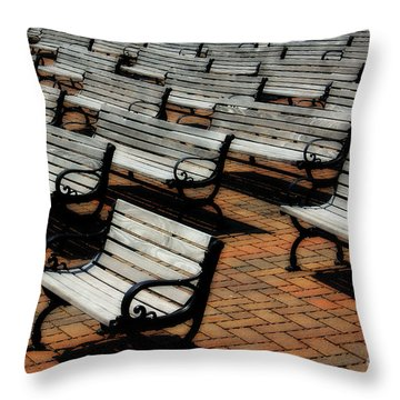 Park Benches Throw Pillow by Perry Webster