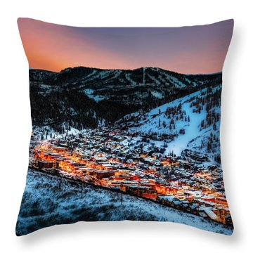 Park City Winter Sunset Throw Pillow