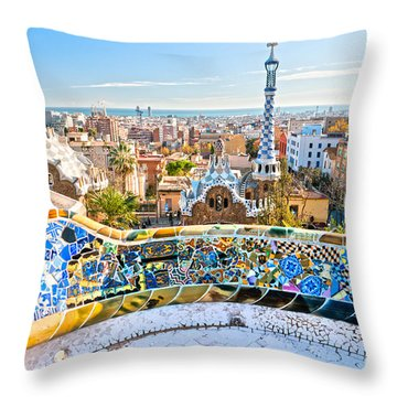 Park Guell Barcelona Throw Pillow by Luciano Mortula