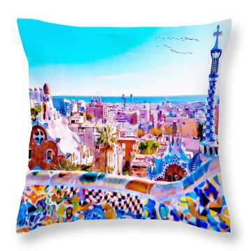 Park Guell Watercolor Painting Throw Pillow by Marian Voicu