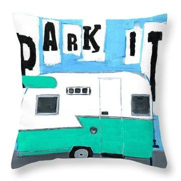 Park It-aqua Throw Pillow