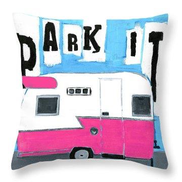 Park It- Pink Throw Pillow