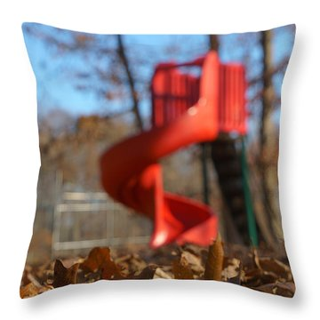 Throw Pillow featuring the pyrography Park Slide by Greg Collins