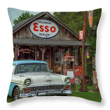 Parked At Ferland Motor Company Throw Pillow