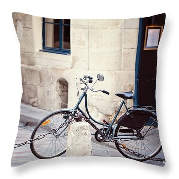 Parked In Paris - Bicycle Photography Throw Pillow