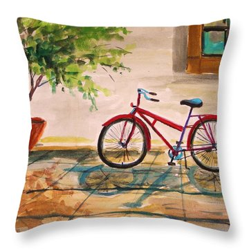 Parked In The Courtyard Throw Pillow