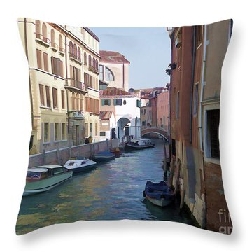 Throw Pillow featuring the photograph Parked In Venice by Roberta Byram