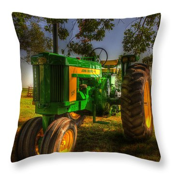 Parked John Deere Throw Pillow