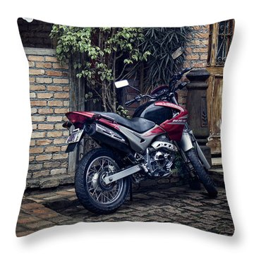 Throw Pillow featuring the photograph Parked Motorcycle by Kim Wilson