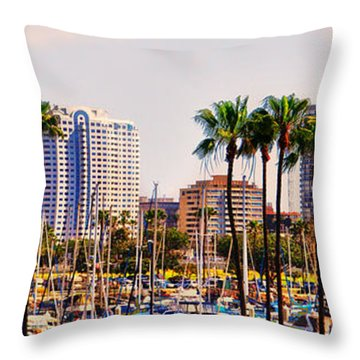 Parking And Palms In Long Beach Throw Pillow