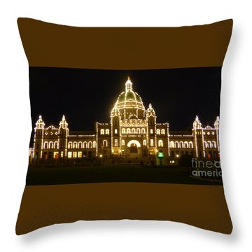 Parliament Building At Night - Victoria British Columbia Throw Pillow