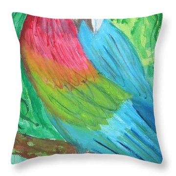 Throw Pillow featuring the painting Parrot At Sundy House by Donna Walsh