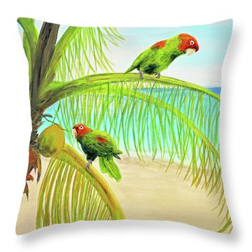 Parrot Beach Throw Pillow