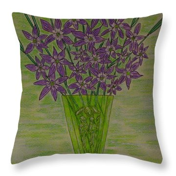 Throw Pillow featuring the painting Parrot Green Depression Glass by Kathy Marrs Chandler