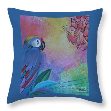 Parrot In Paradise Throw Pillow