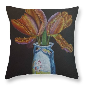 Parrot Tulips Throw Pillow