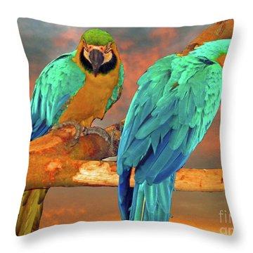 Parrots At Sunset Throw Pillow