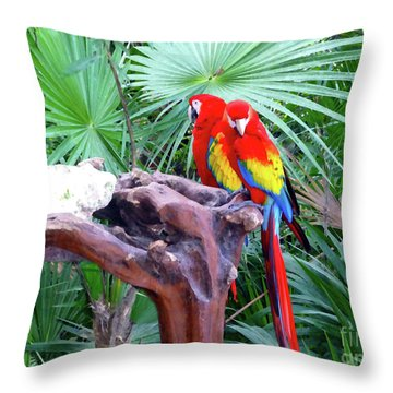 Throw Pillow featuring the digital art Parrots by Francesca Mackenney