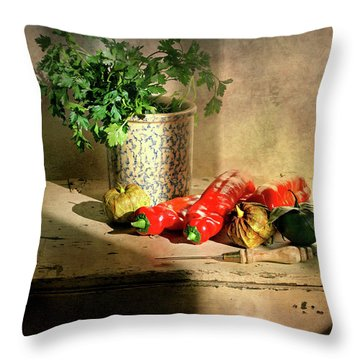 Throw Pillow featuring the photograph Parsley And Peppers by Diana Angstadt