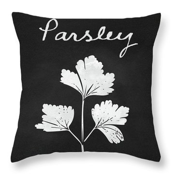 Parsley Black And White- Art By Linda Woods Throw Pillow