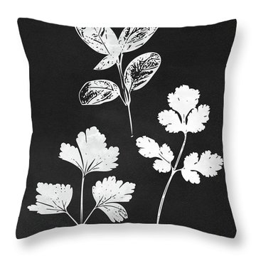 Parsley Cilantro Basil Leaves- Art By Linda Woods Throw Pillow