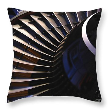 Partial View Of Jet Engine Throw Pillow by Yali Shi