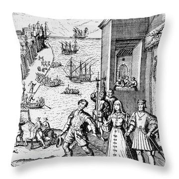 Parting Of Columbus With Ferdinand And Isabella Throw Pillow