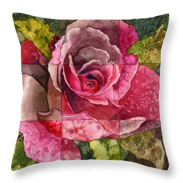Partitioned Rose IIi Throw Pillow by Anne Gifford