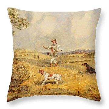 Partridge Shooting  Throw Pillow by Henry Thomas Alken