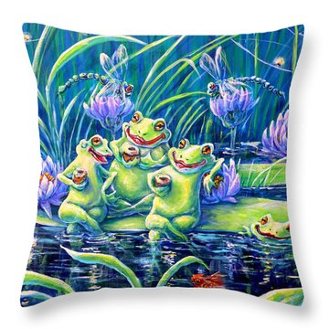 Party At The Pad Throw Pillow by Gail Butler