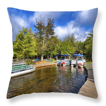 Throw Pillow featuring the photograph Party Barges At Palmer Point by David Patterson