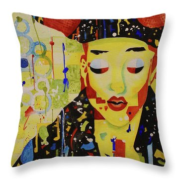 Throw Pillow featuring the painting Party Girl by Cynthia Powell