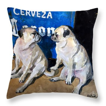 Throw Pillow featuring the painting Party Girls by Molly Poole
