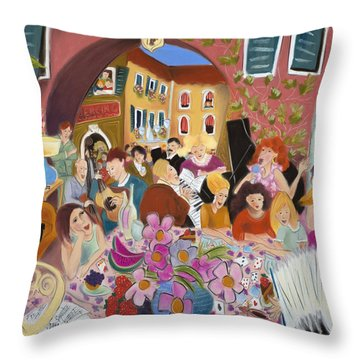 Party In The Courtyard Throw Pillow by Tatjana Krizmanic
