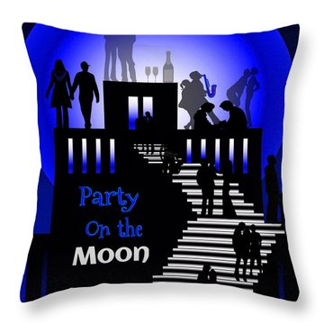 Party On The Moon Throw Pillow