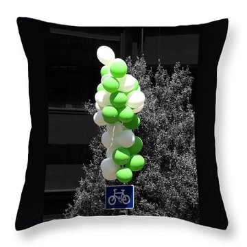 Party - On Yer Bike Throw Pillow by Hazy Apple