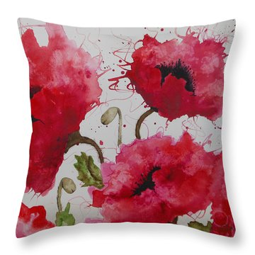 Throw Pillow featuring the painting Party Poppies by Karen Kennedy Chatham