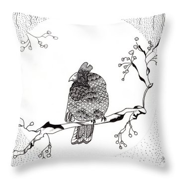 Party Time In Birdville Throw Pillow
