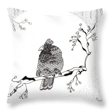 Party Time In Birdville Throw Pillow by Jan Steinle