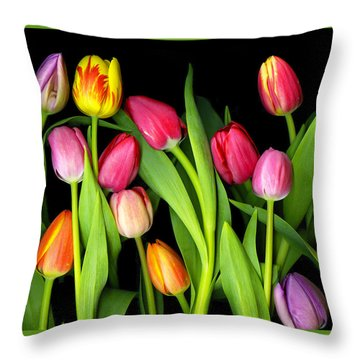 Tulips Throw Pillow by Christian Slanec