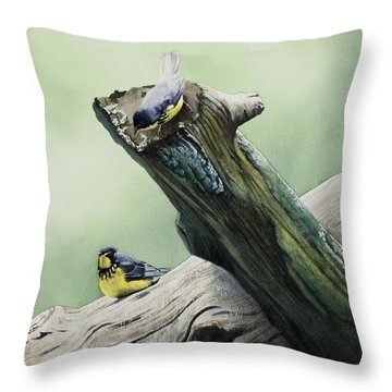 Parulines Du Canada Throw Pillow by Caroline Boyer