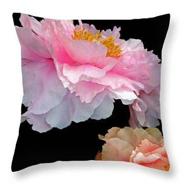 Pas De Deux Glowing Peonies Throw Pillow