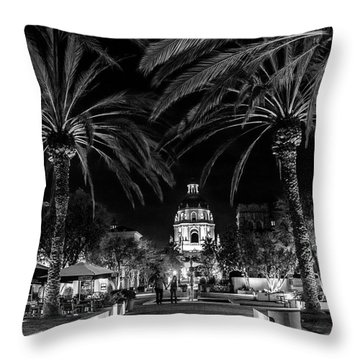 Throw Pillow featuring the photograph Pasadena City Hall After Dark In Black And White by Randall Nyhof