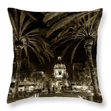 Throw Pillow featuring the photograph Pasadena City Hall After Dark In Sepia Tone by Randall Nyhof
